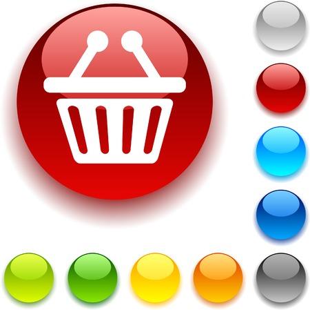 luninous:  Shopping shiny button. Vector illustration.