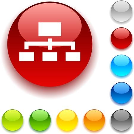 Network shiny button. Vector illustration. Stock Vector - 5457965