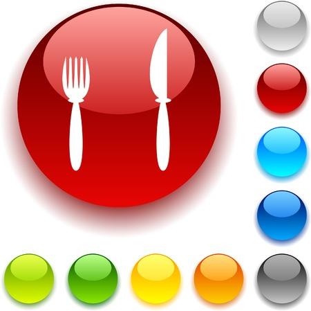 luninous:  Dinner shiny button. Vector illustration.  Illustration