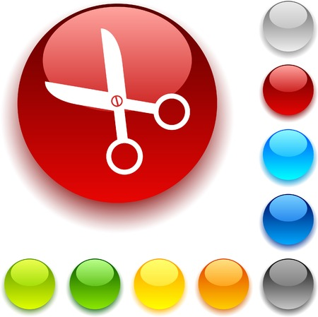 scissors shiny button. Vector illustration.  Vector