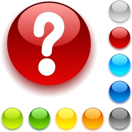 luninous:  Question shiny button. Vector illustration.