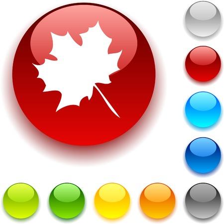 luninous:  Autumn shiny button. Vector illustration.