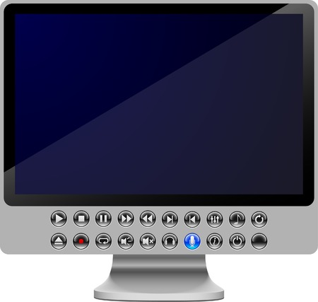 blue widescreen widescreen: LCD with buttons. Vector illustration.