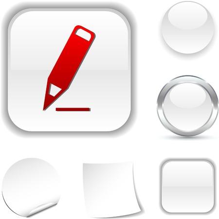 Pencil white icon. Vector illustration. Stock Vector - 5493718