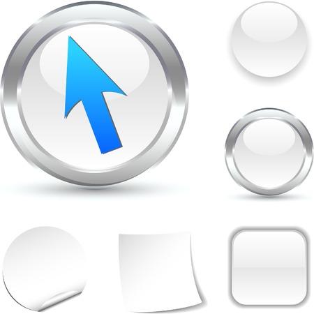 Cursor  white icon. Vector illustration.  Stock Vector - 5493708