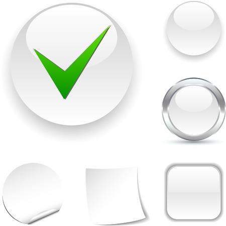Icono de verificación blanco. Ilustración vectorial.