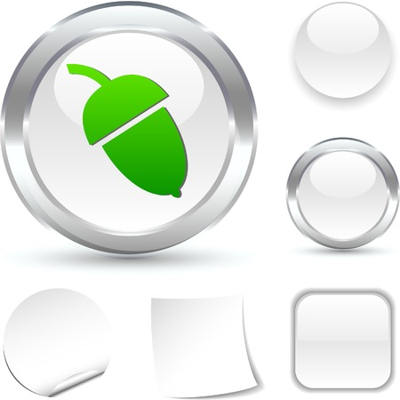 Acorn  white icon. Vector illustration. Stock Vector - 5493714