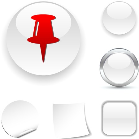 drawingpin: Drawing-pin  white icon. Vector illustration.