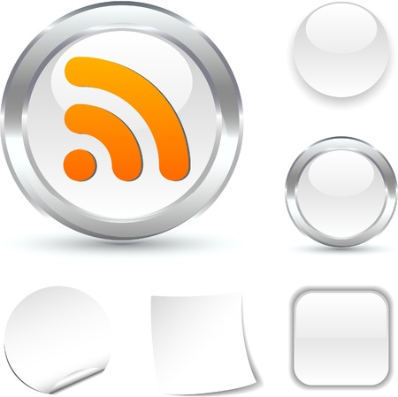 rss: Rss  white icon. Vector illustration.