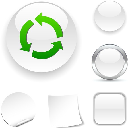 Recycle white icon. Vector illustration.  Vector