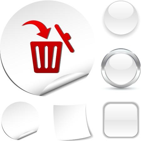 Delete white icon. Vector illustration.  Vector