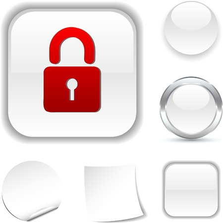 Padlock white icon. Vector illustration.  Vector
