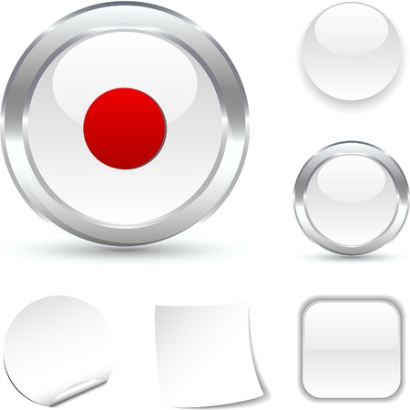 rec: Rec  white icon. Vector illustration.