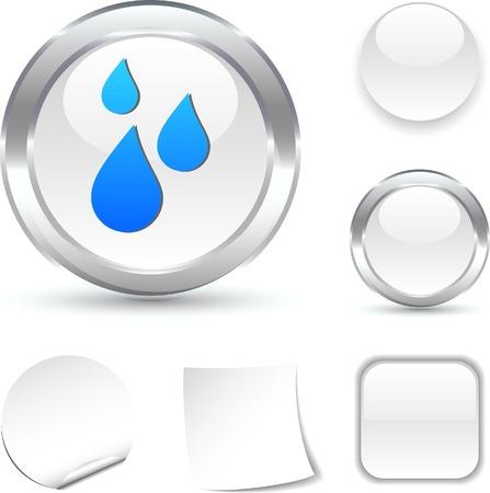 Rain white icon. Vector illustration. Stock Vector - 5502026