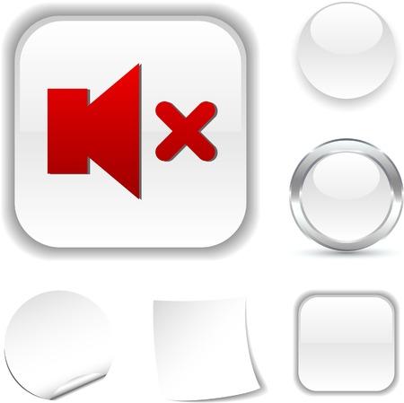 mute  white icon. Vector illustration.  Stock Vector - 5502033