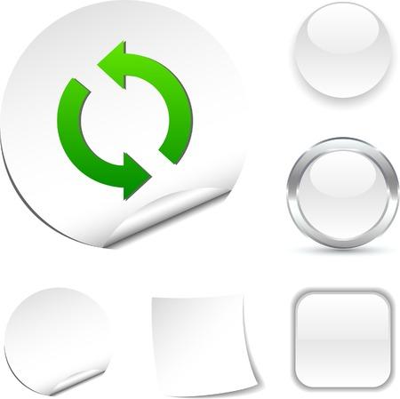 refresh: Refresh white icon. Vector illustration.