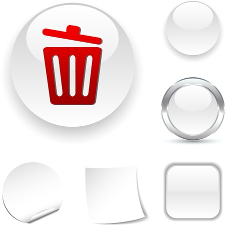 Recycle bin.  white icon. Vector illustration.  Stock Vector - 5509033