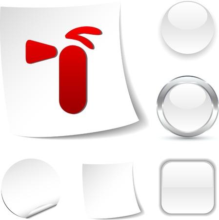 Extinguisher  white icon. Vector illustration. Stock Vector - 5509040