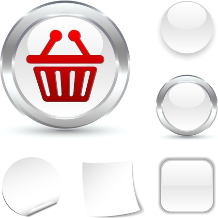 Shopping  white icon. Vector illustration.  Stock Vector - 5509053