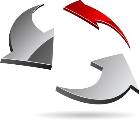 red arrow: Abstract company symbol. Vector illustration.
