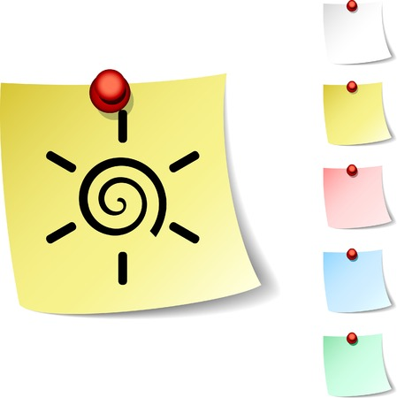 drawingpin:  Sun sheet icon. Vector illustration.