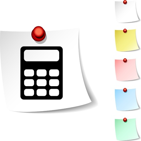 drawingpin: Calculate sheet icon. Vector illustration.  Illustration