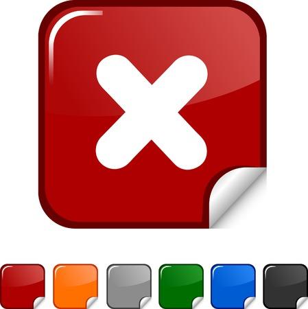 Cross  sticker icon. Vector illustration.  Vector