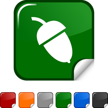 Acorn sticker icon. Vector illustration.  Vector
