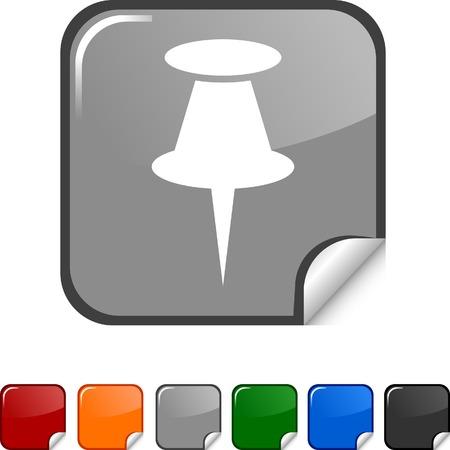 Drawing-pin  sticker icon. Vector illustration.  Vector