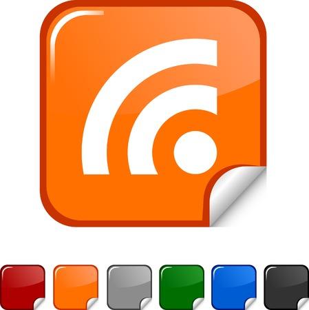 rss: Rss  sticker icon. Vector illustration.  Illustration