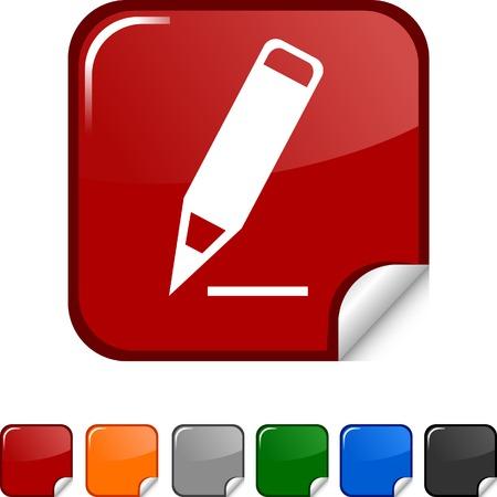 Pencil  sticker icon. Vector illustration. Stock Vector - 5613481