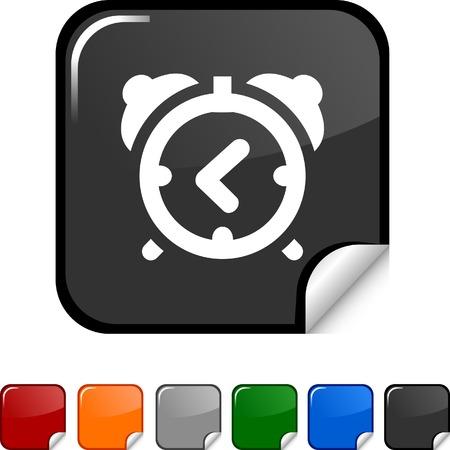 sticker vector: alarm-clock  sticker icon. Vector illustration.