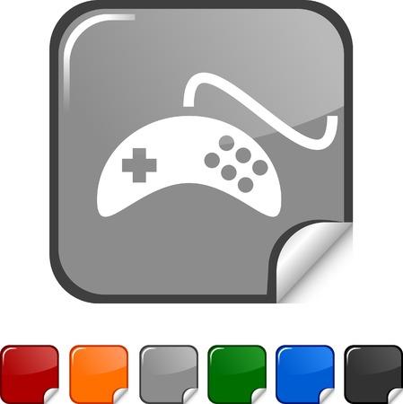 gamepad: Gamepad sticker icon. Vector illustration.