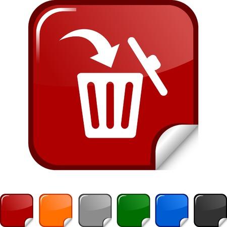 Delete sticker icon. Vector illustration.