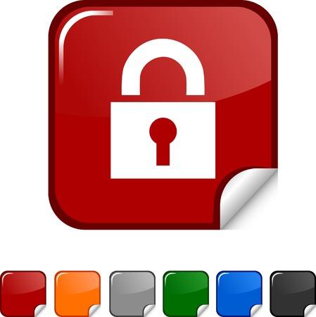 Padlock  sticker icon. Vector illustration. Stock Vector - 5617901