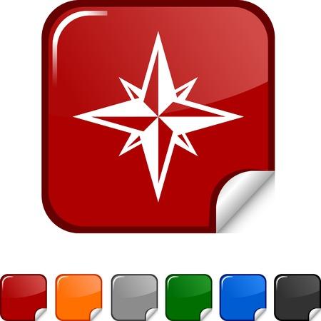 Compass  sticker icon. Vector illustration.  Stock Vector - 5617902
