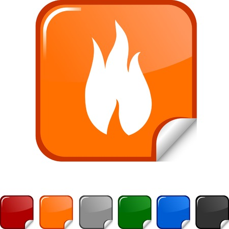 Fire sticker icon. Vector illustration.  Stock Vector - 5617893