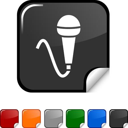 Mic sticker icon. Vector illustration.  Stock Vector - 5617806