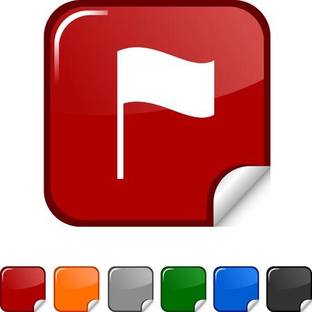 Flag  sticker icon. Vector illustration. Stock Vector - 5627967
