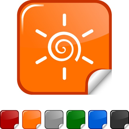 Sun  sticker icon. Vector illustration.  Vector