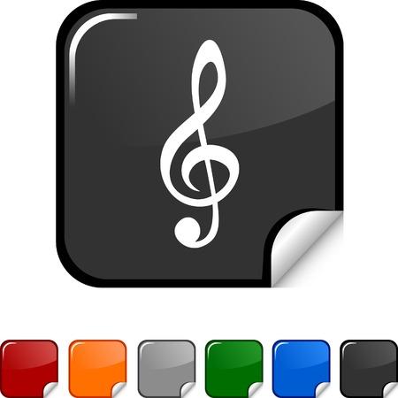 Clef  sticker icon. Vector illustration.  Vector