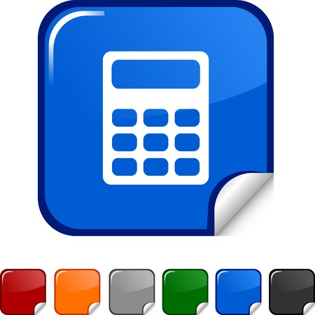 Calculate  sticker icon. Vector illustration.  Vector