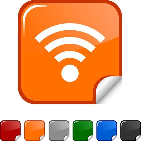 radio button: Icona RSS adesivo. Vector illustration.