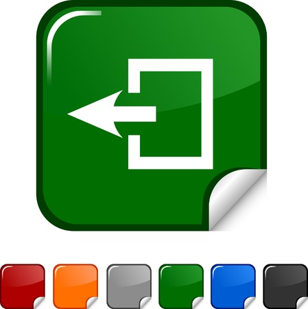Exit  sticker icon. Vector illustration.  Vector