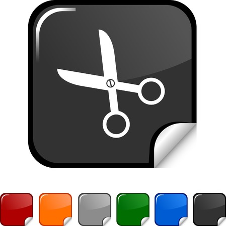 scissors  sticker icon. Vector illustration.  Vector