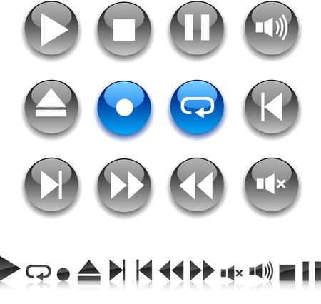 Player icon set. Vector illustration.