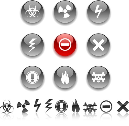 Warning  icon set. Vector illustration.  Stock Vector - 5635425