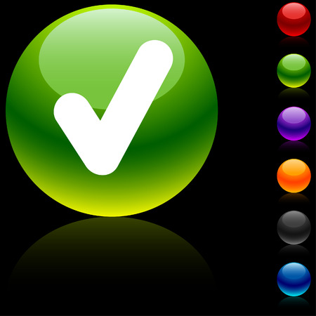 Check glossy icon. Vector illustration.  Vector