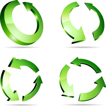 refreshing: 3d recycle symbols.  Illustration