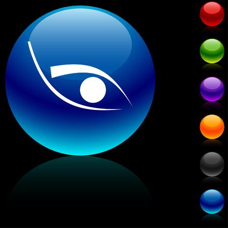 Eye glossy icon. Vector